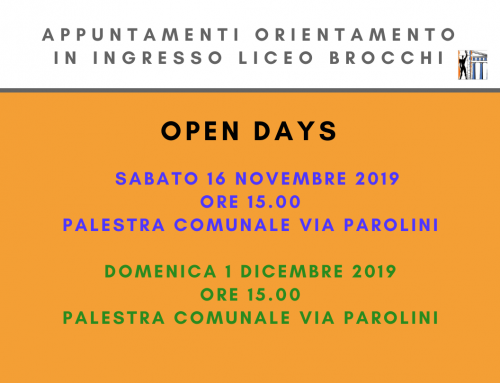 Orientamento in entrata – OPEN DAYS