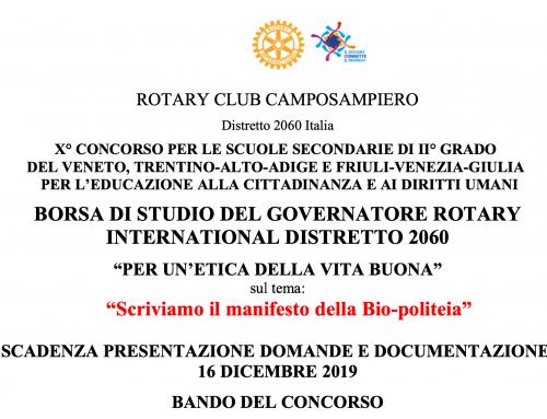 """BORSA DI STUDIO ROTARY """"PER UN'ETICA DELLA VITA BUONA"""""""