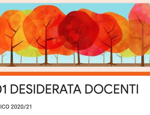 DESIDERATA ORARIO DOCENTI 2020-21