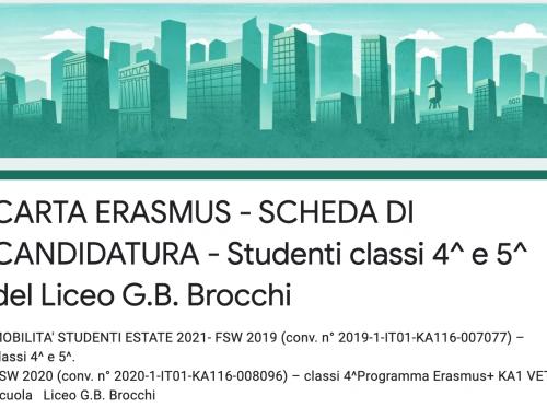 Carta Erasmus – Mobilità Studenti estate 2021